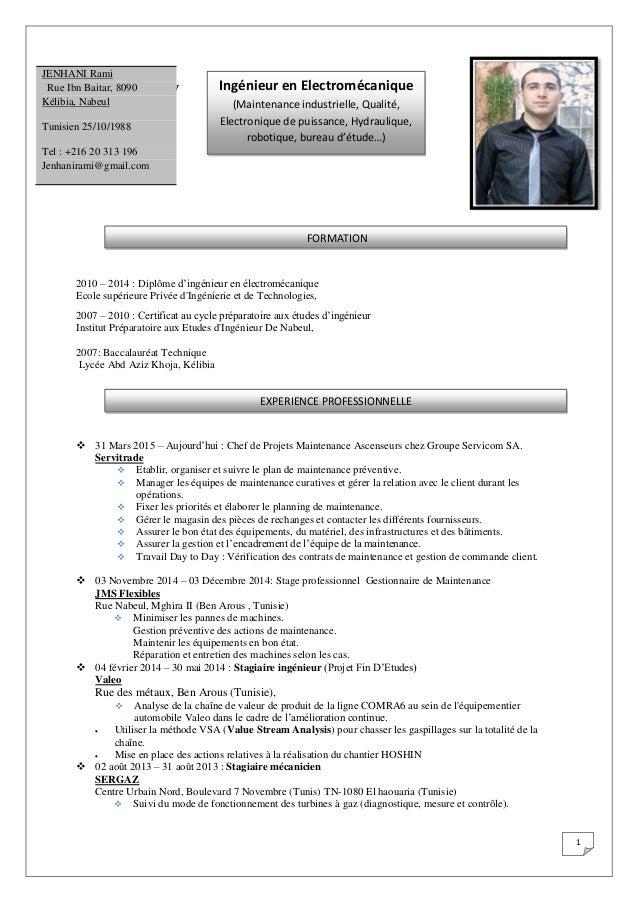 1 Ti kelmavrv 2010 – 2014 : Diplôme d'ingénieur en électromécanique Ecole supérieure Privée d'Ingénierie et de Technologie...