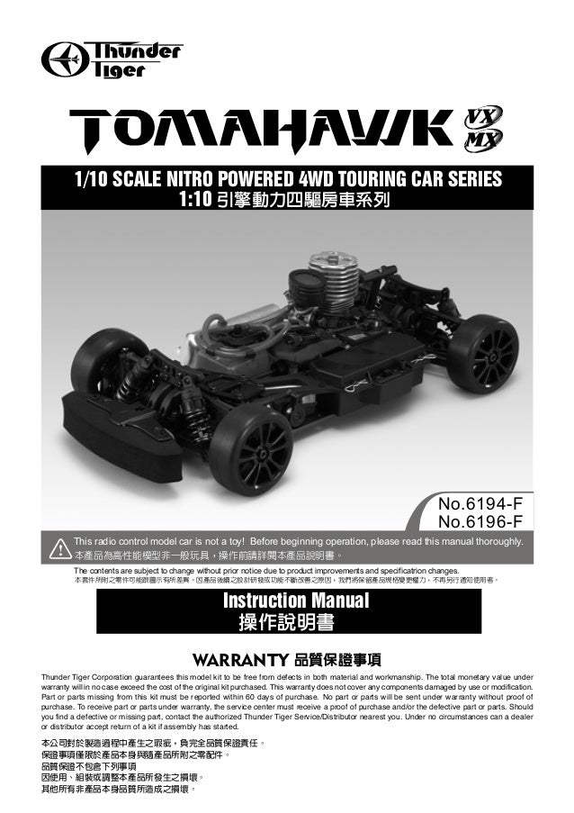 Thunder Tiger Corporation guarantees this model kit to be free from defects in both material and workmanship. The total mo...