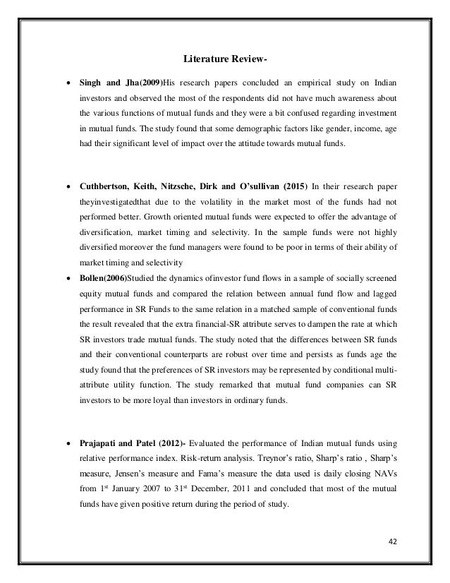 Literature review on mutual funds pdf