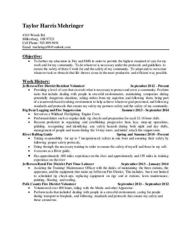 Resume template firefighter