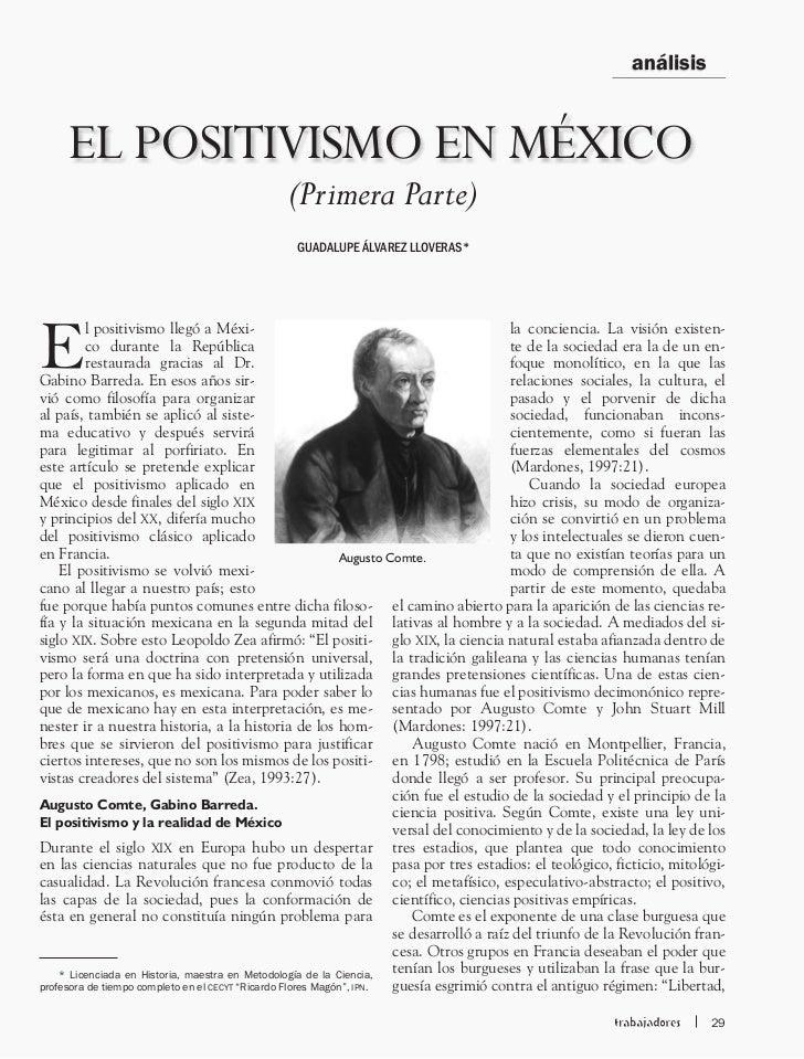análisis     EL POSITIVISMO EN MÉXICO                                             (Primera Parte)                         ...