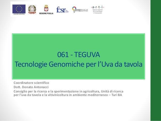 061 - TEGUVA Tecnologie Genomiche per l'Uva da tavola Coordinatore scientifico Dott. Donato Antonacci Consiglio per la ric...