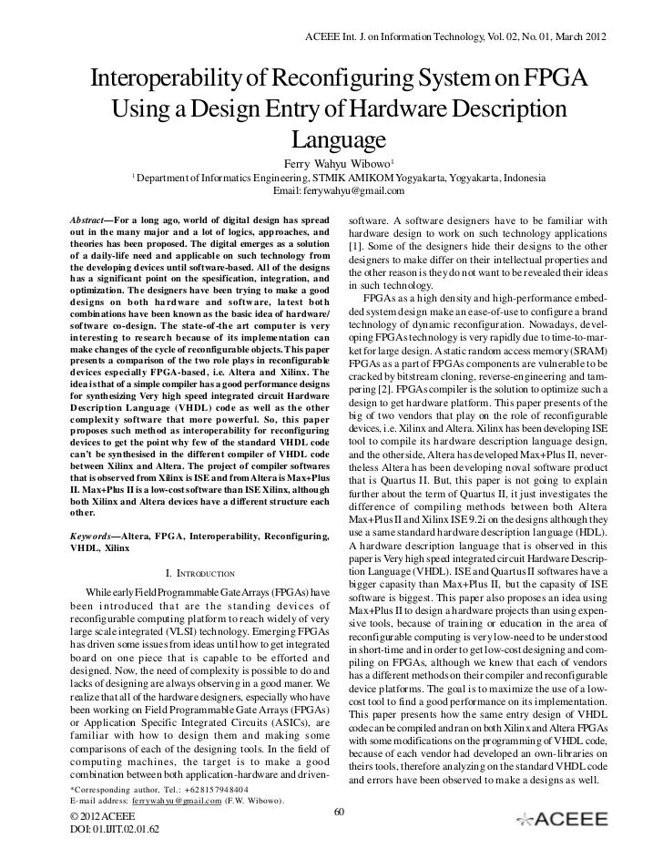 ACEEE Int. J. on Information Technology, Vol. 02, No. 01, March 2012    Interoperability of Reconfiguring System on FPGA  ...