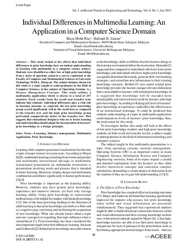 Individual Differences in Multimedia Learning: An Application in a Computer Science Domain