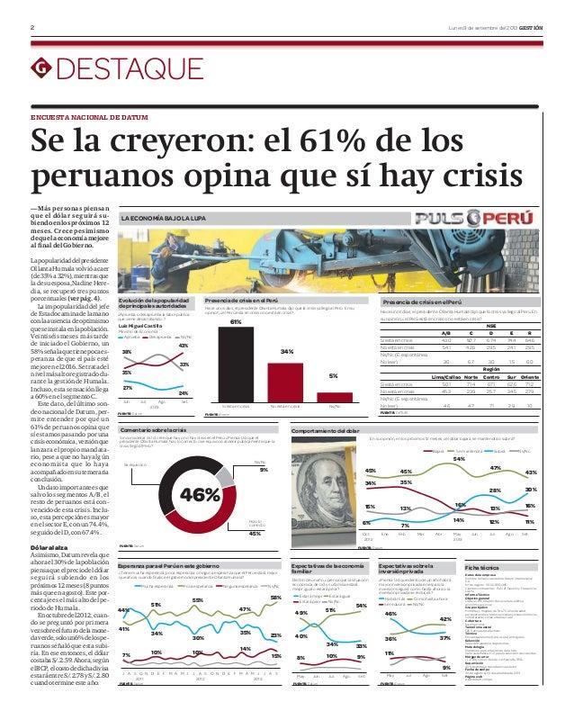 2 Lunes 9 de setiembre del 2013 GESTIÓN DESTAQUE Se la creyeron: el 61% de los peruanos opina que sí hay crisis Lapopulari...
