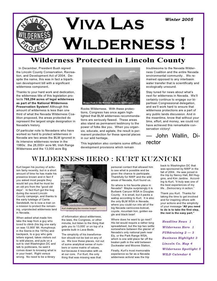Winter 2005 Nevada Wilderness Project Newsletter