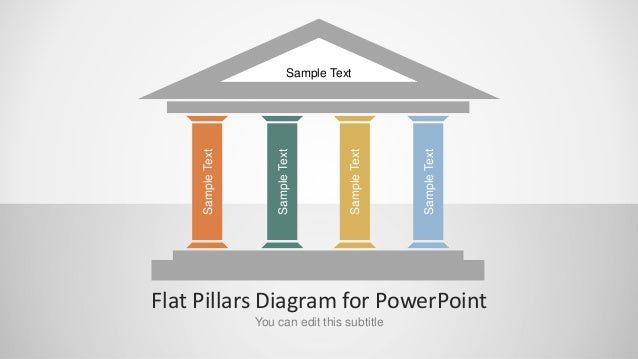 Flat Pillars Diagram For Powerpoint Slidemodel Com