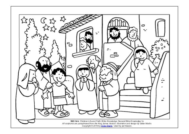 Coloring page- The acts of the apostles: Sleeping in class