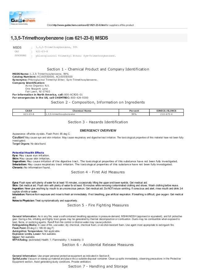 Click http://www.guidechem.com/cas-621/621-23-8.html for suppliers of this product1,3,5-Trimethoxybenzene (cas 621-23-8) M...
