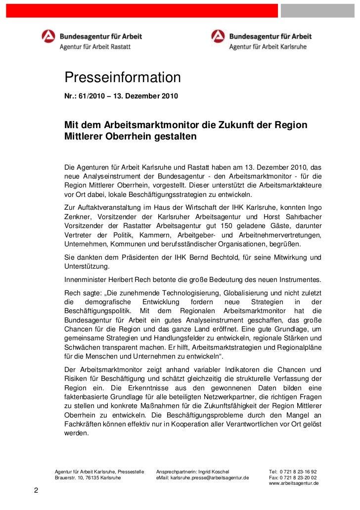 Presseinformation        Nr.: 61/2010 – 13. Dezember 2010        Mit dem Arbeitsmarktmonitor die Zukunft der Region       ...
