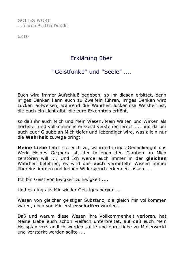 """GOTTES WORT  ... durch Bertha Dudde  6210  Erklärung über  """"Geistfunke"""" und """"Seele"""" ....  Euch wird immer Aufschluß gegebe..."""