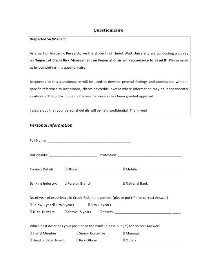62128050 questionnaire-on-credit-risk-management