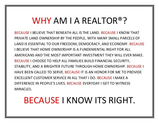 Why I Am A Realtor