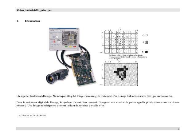 Vision_industrielle_principes 1 1. Introduction On appelle Traitement d'Images Numériques (Digital Image Processing) le tr...