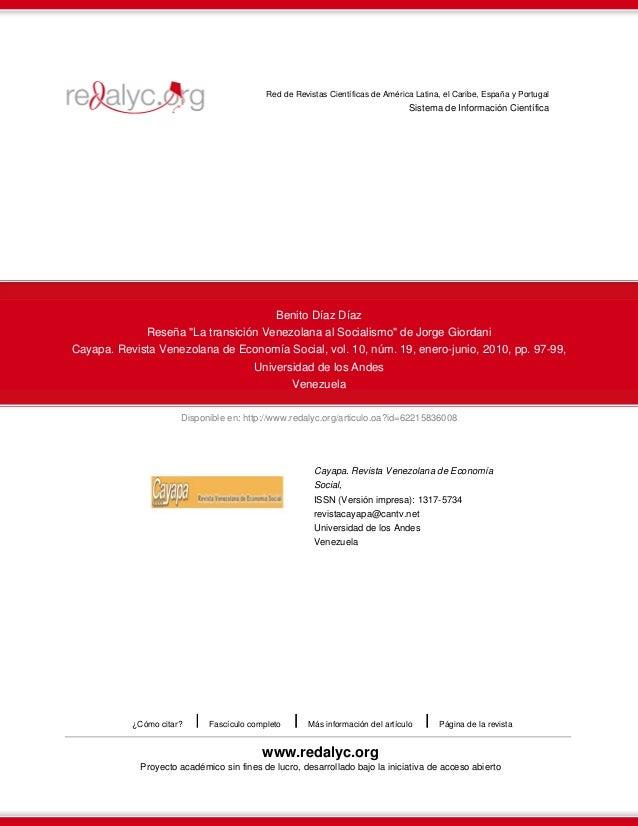 Disponible en: http://www.redalyc.org/articulo.oa?id=62215836008 Red de Revistas Científicas de América Latina, el Caribe,...