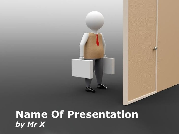 Working Man in front of a Door Free Powerpoint Template