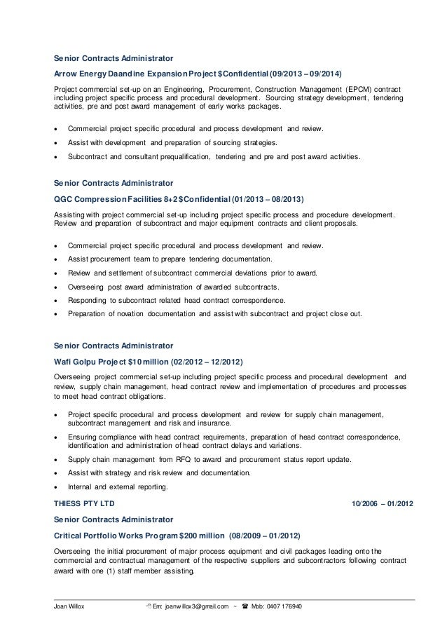 subcontract administrator resume subcontract manager resume exle