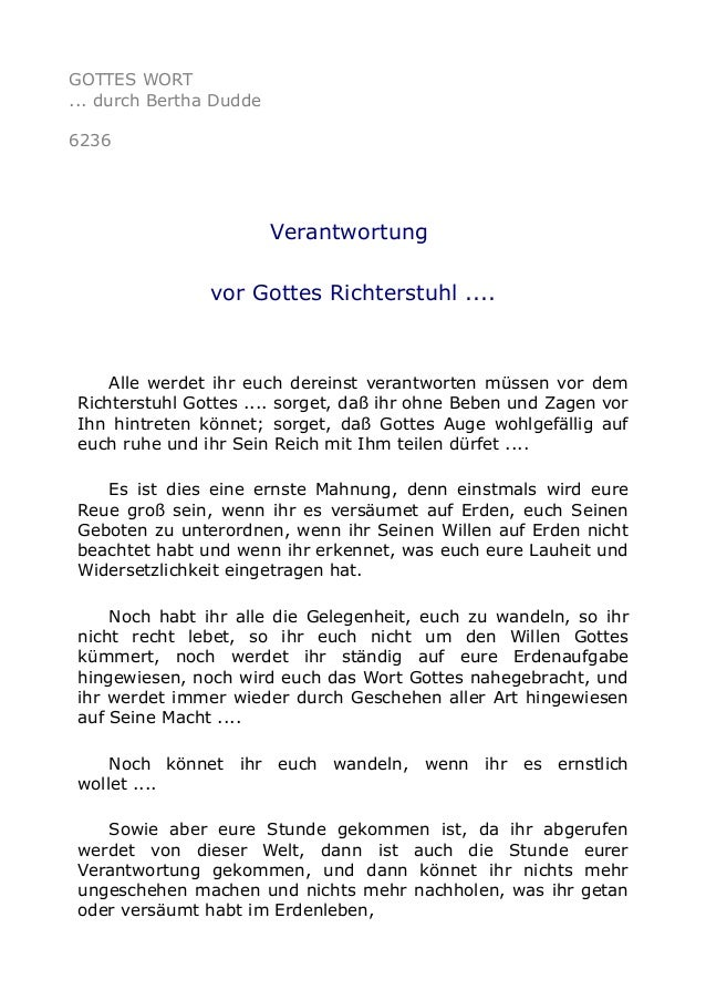 GOTTES WORT  ... durch Bertha Dudde  6236  Verantwortung  vor Gottes Richterstuhl ....  Alle werdet ihr euch dereinst vera...