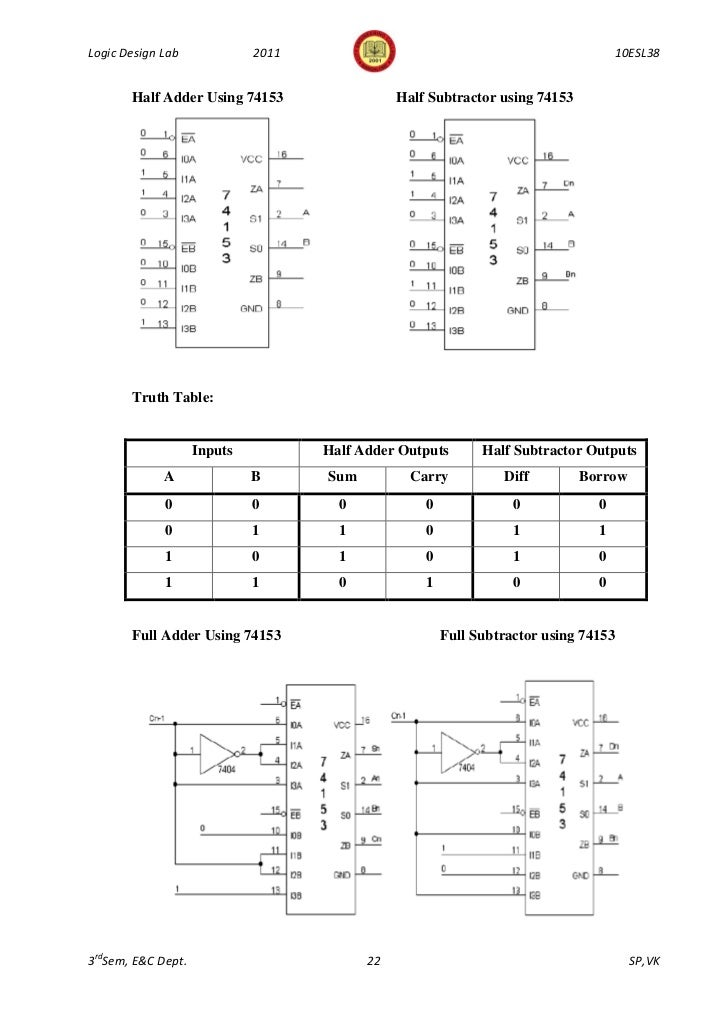 343logic design lab manual 10 esl38 3rd sem 2011