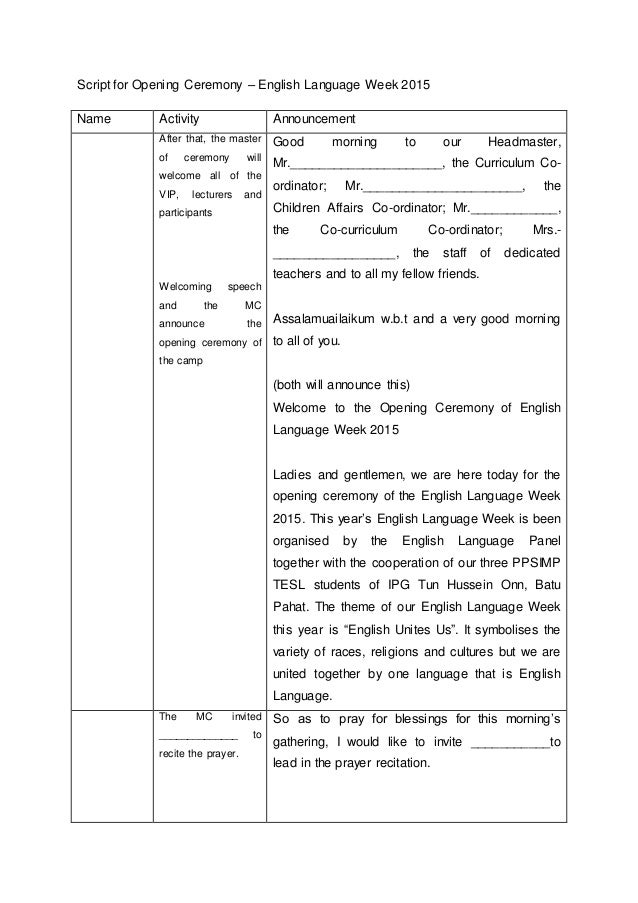 Script for Opening Ceremony – English Language Week 2015Name ...