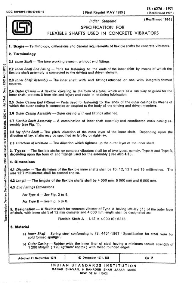 UDC 621'624'5 : 666.97.033.16 ( First Reprint MAY 1983 ) IS:6276- 1971 I Reaffirmed 1977 ) Indian Standard SPECIFICATION F...