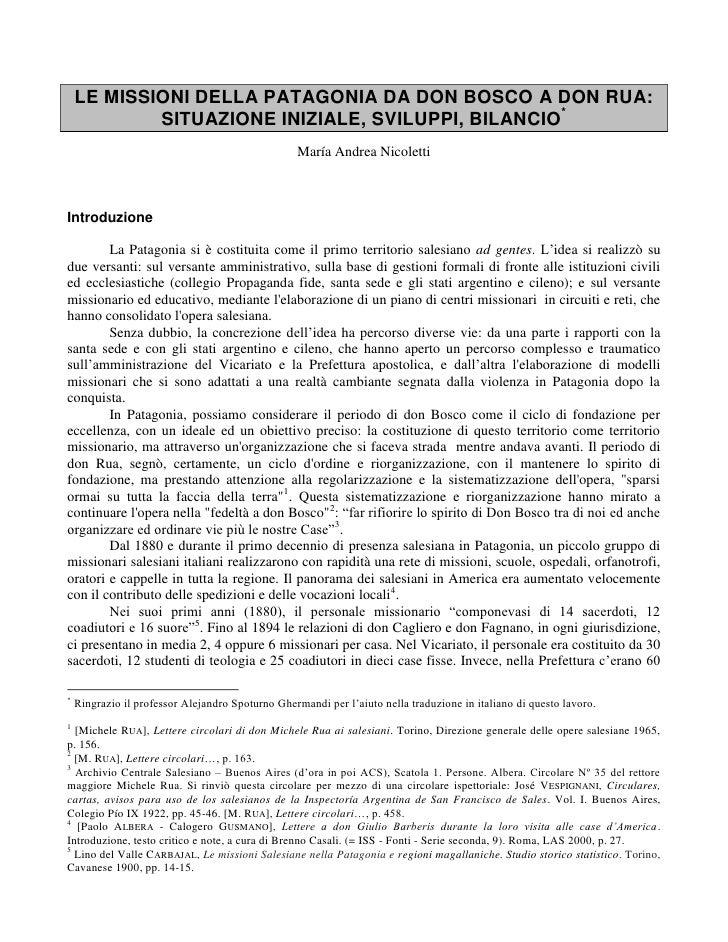 LE MISSIONI DELLA PATAGONIA DA DON BOSCO A DON RUA:            SITUAZIONE INIZIALE, SVILUPPI, BILANCIO*                   ...
