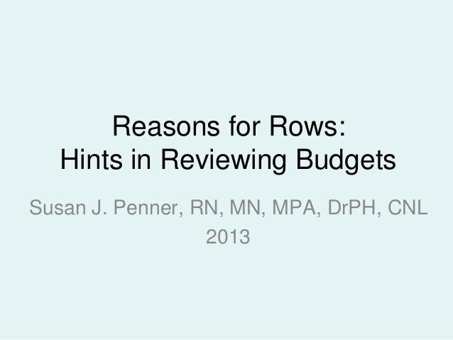 Nursing Unit Budgets: Reasons for Rows