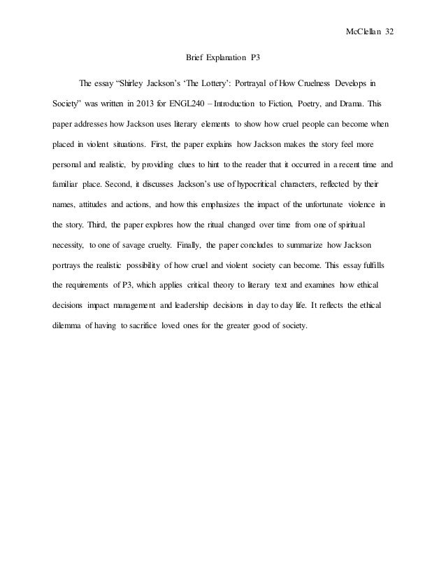 literary essay on the lottery by shirley jackson