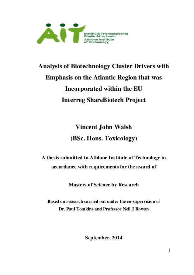Dissertation for msc biotechnology