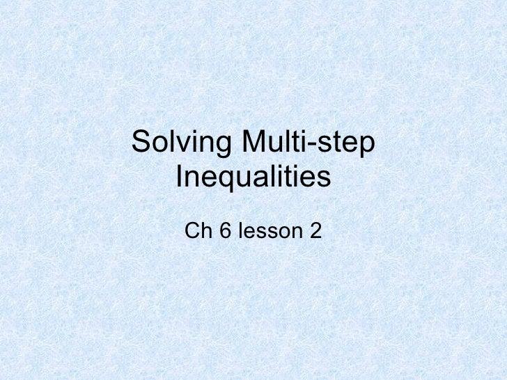 6 2solving Inequalities