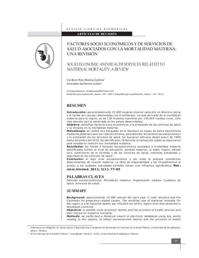 R E V I S TA C I E N C I A S B I O M É D I C A S  ARTÍCULO DE REVISIÓN  FACTORES SOCIO ECONÓMICOS Y DE SERVICIOS DE SALUD ...