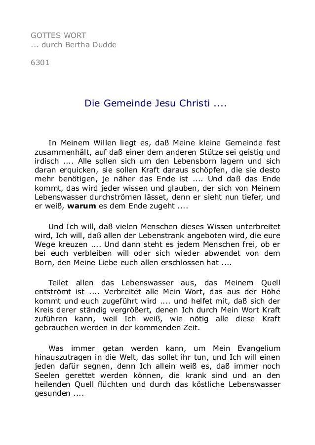 GOTTES WORT  ... durch Bertha Dudde  6301  Die Gemeinde Jesu Christi ....  In Meinem Willen liegt es, daß Meine kleine Gem...