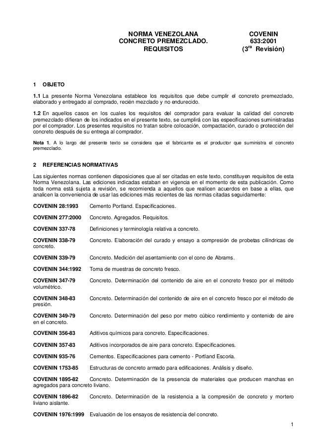 NORMA VENEZOLANA                                     COVENIN                                    CONCRETO PREMEZCLADO.     ...