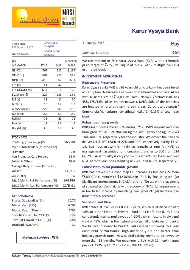 SECTOR: BANKING AND FINANCE  Karur Vysya Bank STOCK INFO. BSE Sensex:19,426 S&P CNX:5,905  1 January 2013  BLOOMBERG KVB@I...