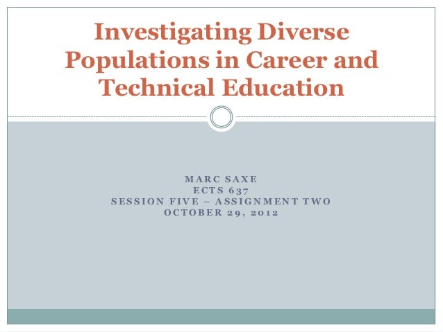 Investigating DiversePopulations in Career and  Technical Education             MARC SAXE              ECTS 637   SESSION ...