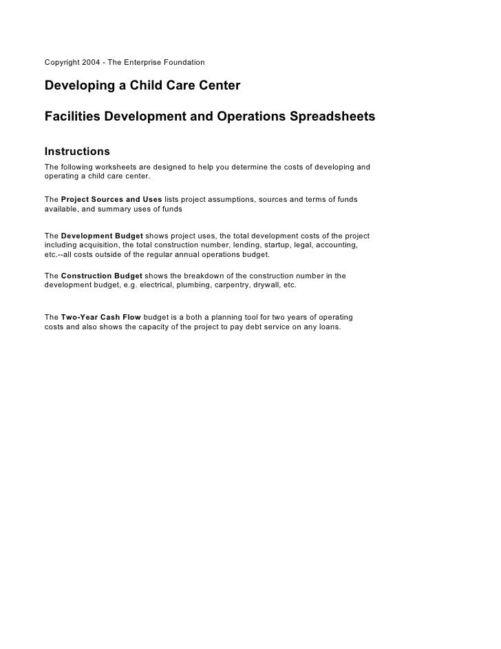 Copyright 2004 - The Enterprise FoundationDeveloping a Child Care CenterFacilities Development and Operations Spreadsheets...