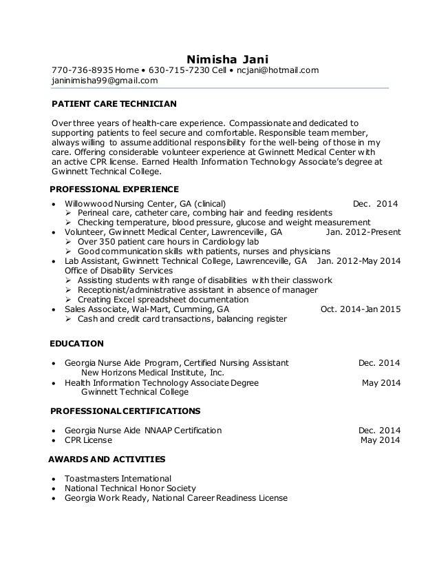 Pct Objective Resume
