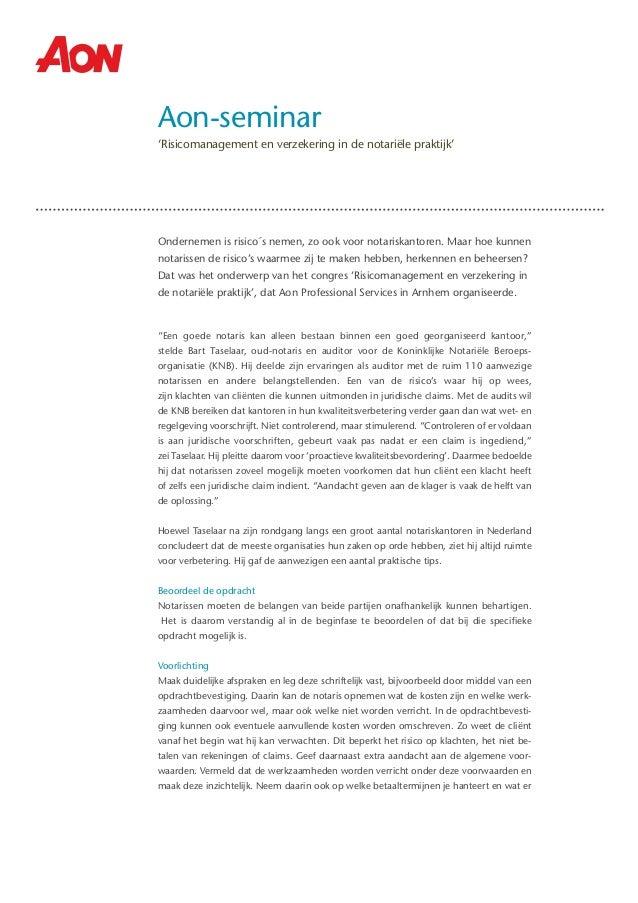 Samenvatting Aon Risicomanagement en verzekering in de notariële praktijk (APS Seminar)