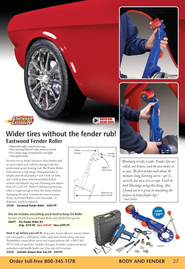 Wider tires without the fender rub!Eastwood Fender Roller • Adjustable roller controls forming • Non-marring Delrin® rolle...