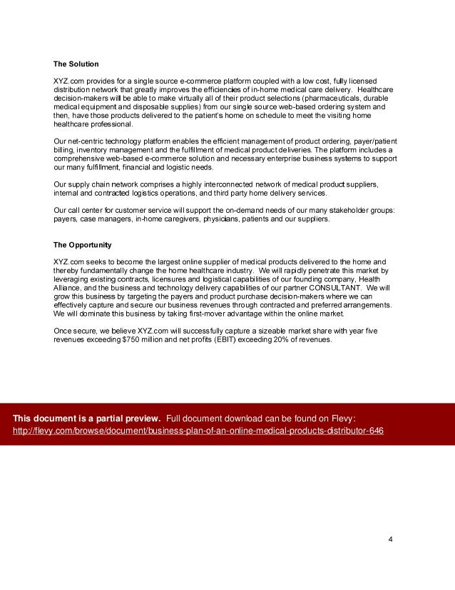 Distributorship business plan