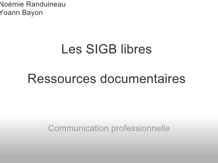 SIGB libre ressources documentaires