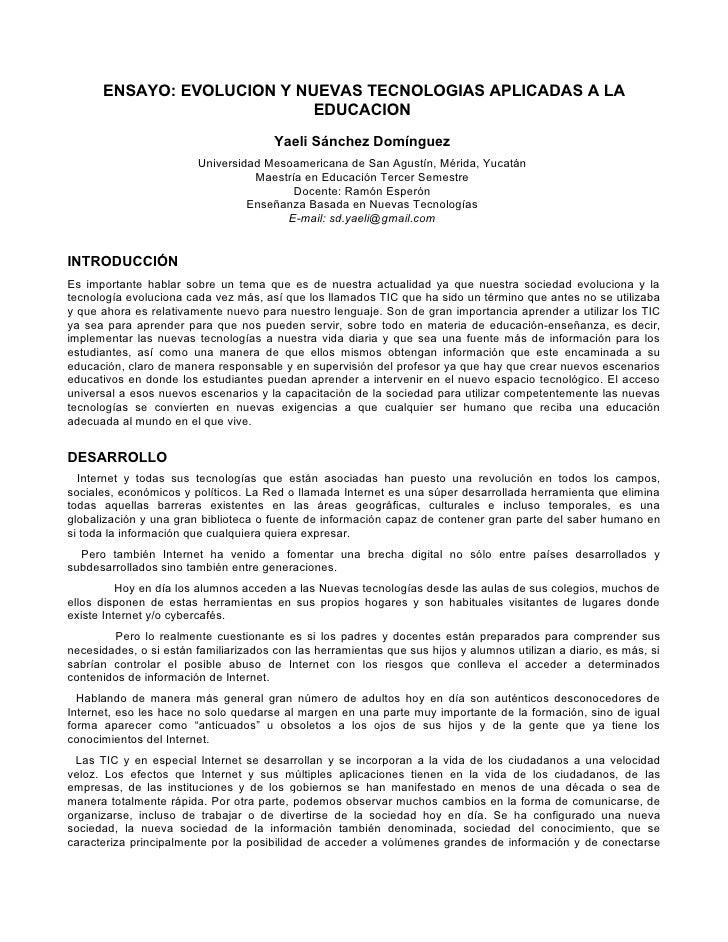 ENSAYO: EVOLUCION Y NUEVAS TECNOLOGIAS APLICADAS A LA                             EDUCACION                               ...