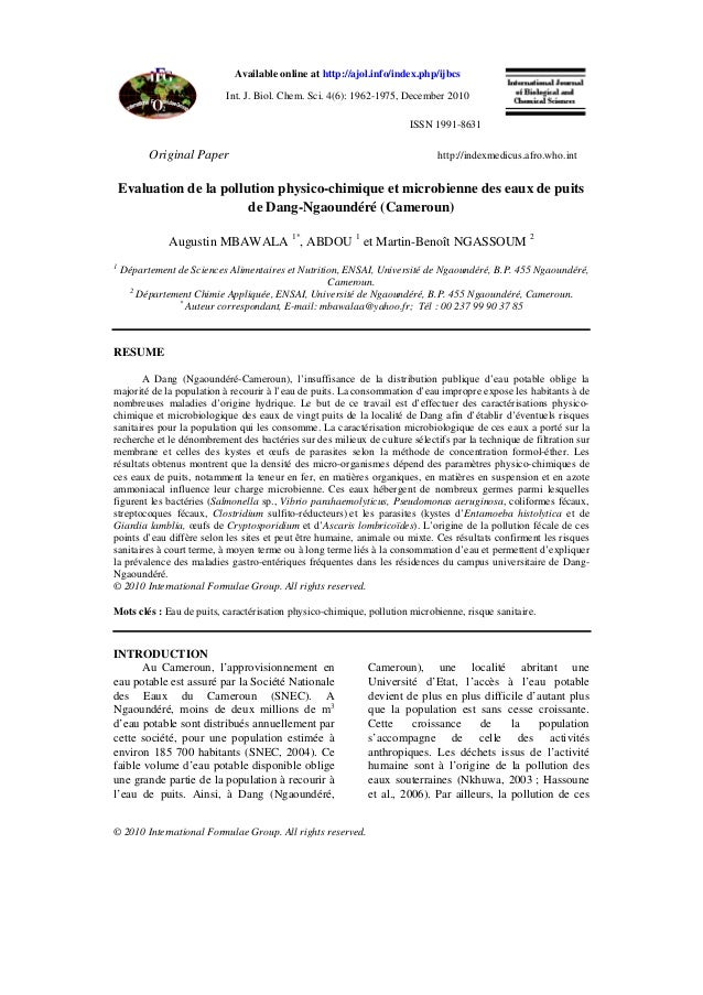 Available online at http://ajol.info/index.php/ijbcs Int. J. Biol. Chem. Sci. 4(6): 1962-1975, December 2010 ISSN 1991-863...