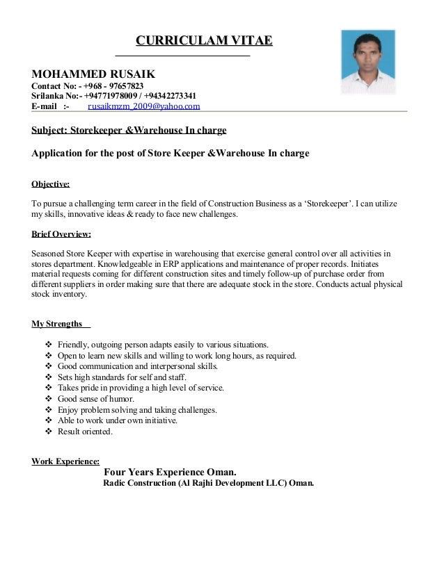 construction store keeper resume sle pdf 28 images