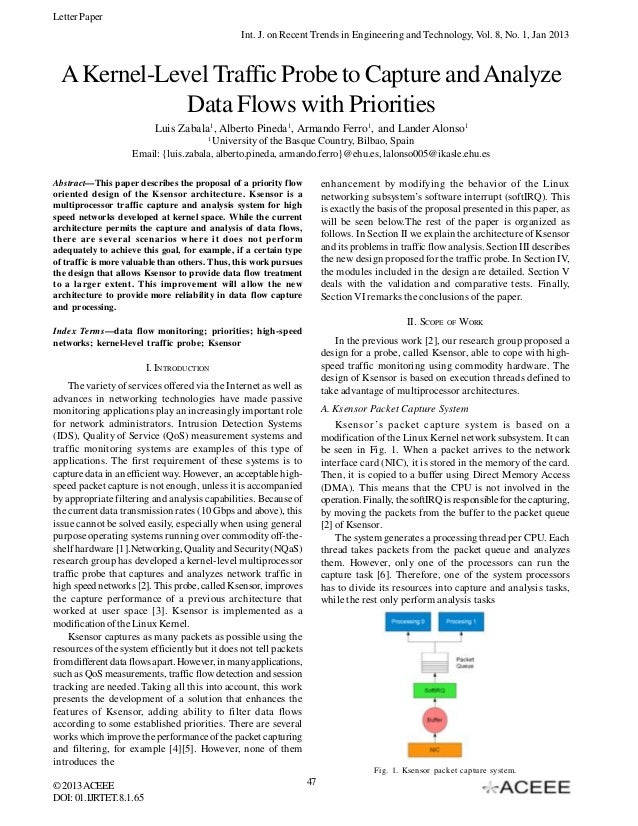 Letter Paper Int. J. on Recent Trends in Engineering and Technology, Vol. 8, No. 1, Jan 2013  A Kernel-Level Traffic Probe...