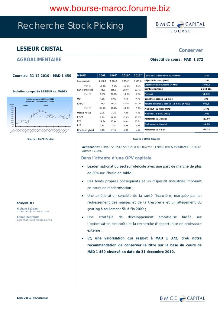 www.bourse-maroc.forume.biz              Recherche Stock Picking               LESIEUR CRISTAL                            ...