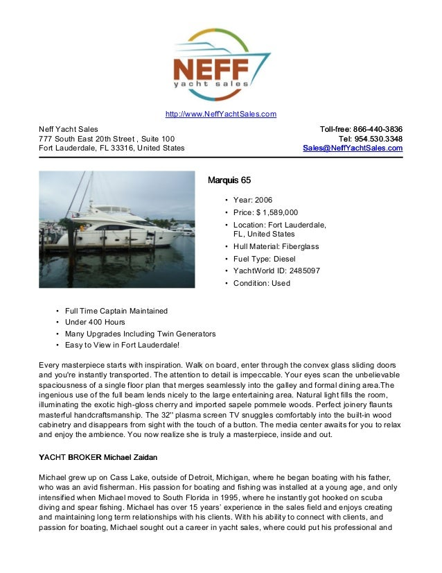 65' 2006 marquis 65 crewless yacht for sale   neff yacht sales