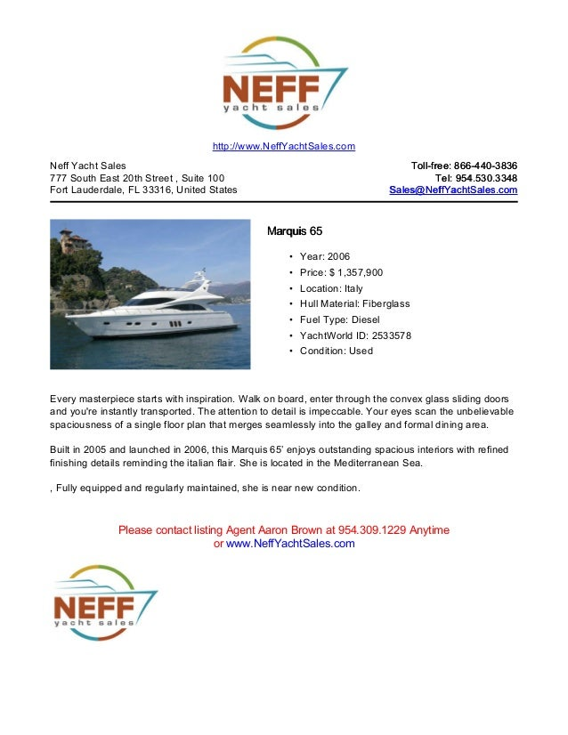 65' 2006 marquis 65 yacht for sale   neff yacht sales
