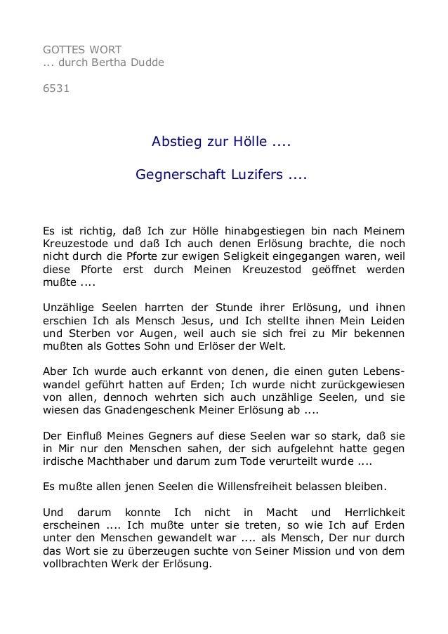 GOTTES WORT  ... durch Bertha Dudde  6531  Abstieg zur Hölle ....  Gegnerschaft Luzifers ....  Es ist richtig, daß Ich zur...