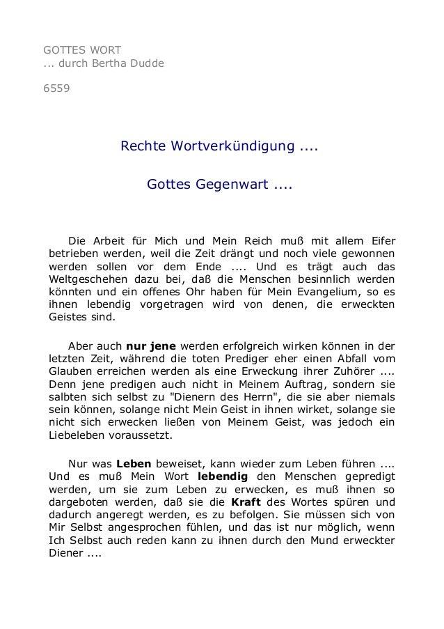 GOTTES WORT  ... durch Bertha Dudde  6559  Rechte Wortverkündigung ....  Gottes Gegenwart ....  Die Arbeit für Mich und Me...